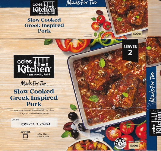 Coles Kitchen Slow Cooked  Greek Inspired Pork Pack 06.11.2020