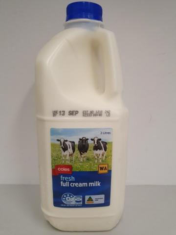 Photograph of Coles Fresh Full Cream Milk 2L 360x480